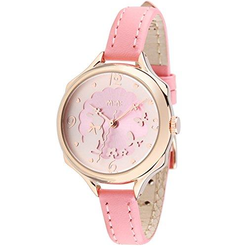 かわいい ウサギ ガールズ レディース 腕時計,fq062 ピンク 本革 ベルト キッズ 女子 学生 ウォッチ ローズゴールド カバー