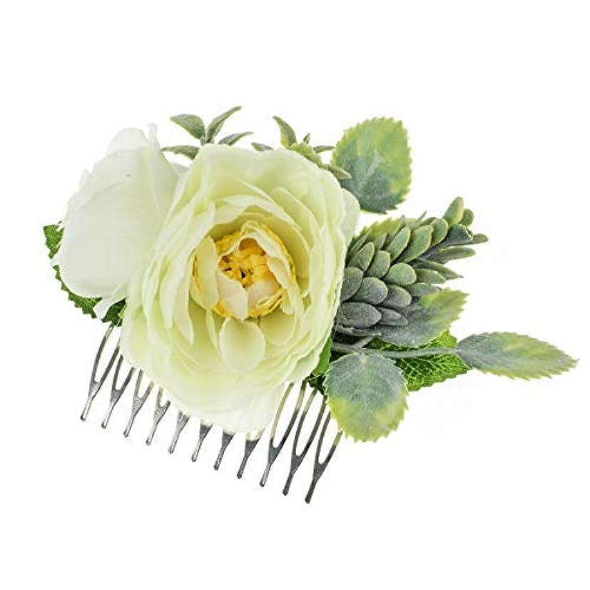 一菊韻Vividsun Bridal Flower Comb Greenery Hair Comb Wedding Floral Headpiece [並行輸入品]