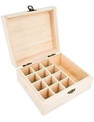 精油収納ボックス エッセンシャルオイル収納ケース 小容量 13本収納可能 木製 環境に優しい 5ml?10ml?15ml?115mlの精油ボルトに対応 junexi