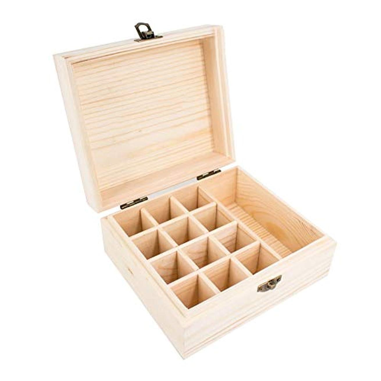 矢症候群語精油収納ボックス エッセンシャルオイル収納ケース 小容量 13本収納可能 木製 環境に優しい 5ml?10ml?15ml?115mlの精油ボルトに対応 junexi