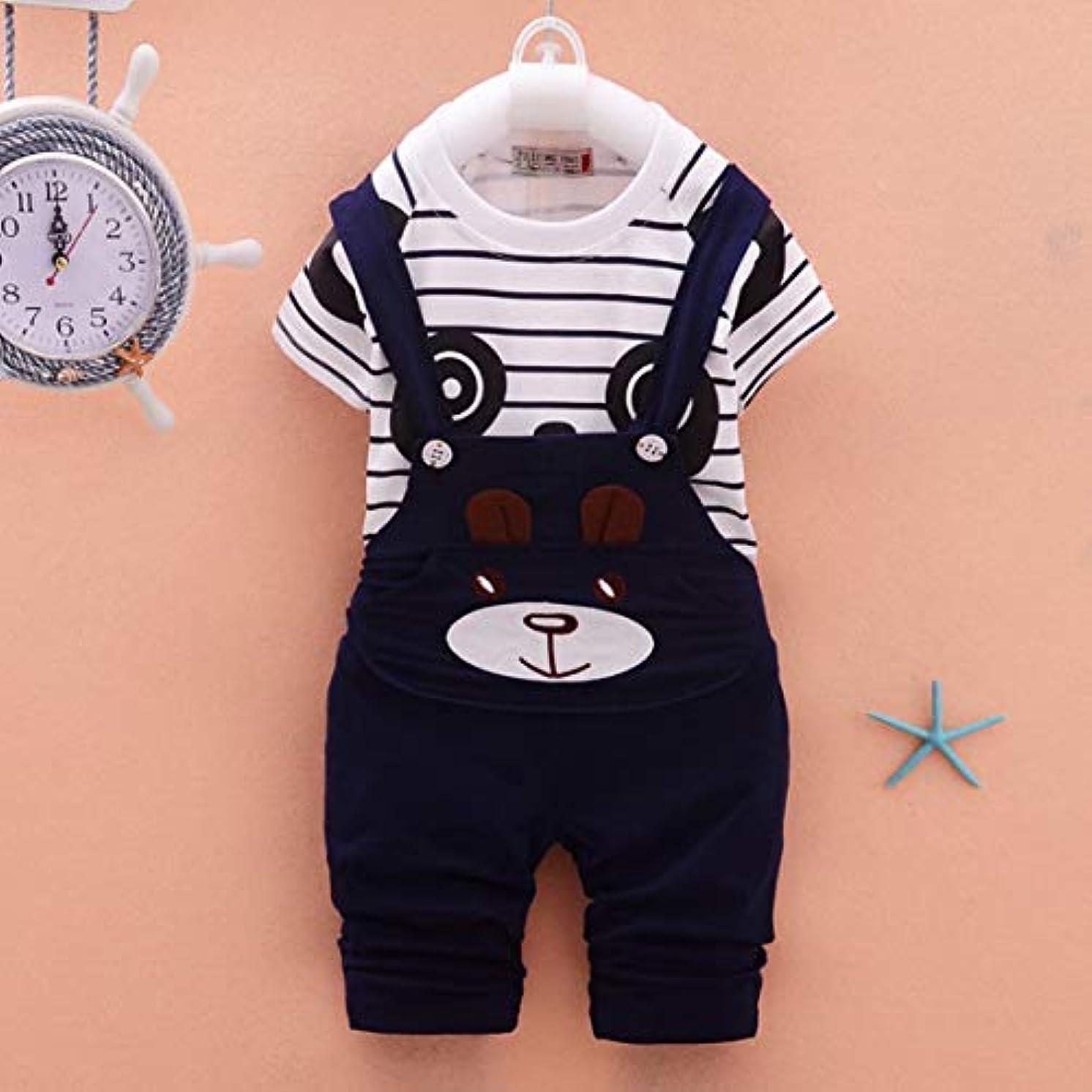 詩人のためにダニキッズスポーツスーツソフトコットンストライププリント漫画パンダ赤ちゃん半袖スーツ子供Tシャツとロンパース服セット-ネイビーブルー-12