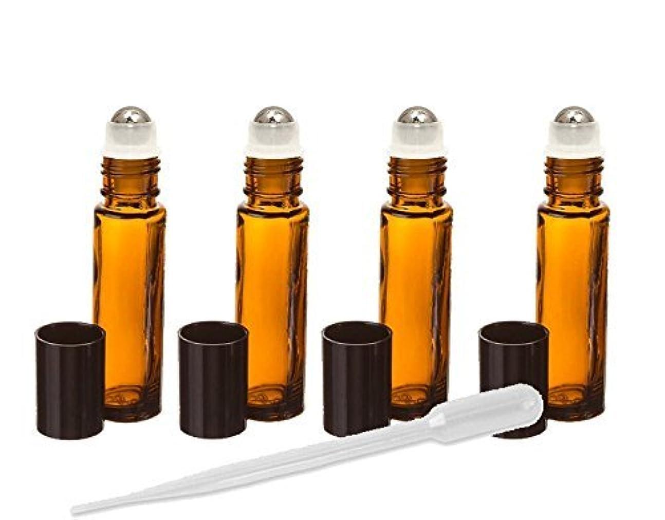 苦痛タワー側溝Grand Parfums Amber Glass Essential Oil Rollerball Bottles with Stainless Steel Rollerballs, 10ml Aromatherapy...