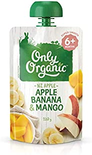 Only Organic Apple Banana & Mango Fruit 6+ Months - 120g