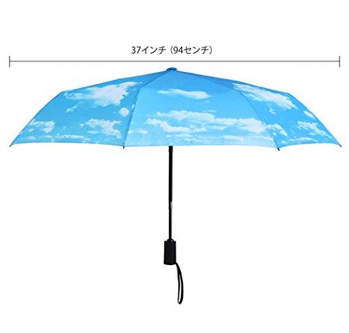 PLEMO折り畳み傘自動開閉折りたたみ傘頑丈な8本骨耐強風梅雨対策軽量撥水性収納ケース付おしゃれ(ブルー)