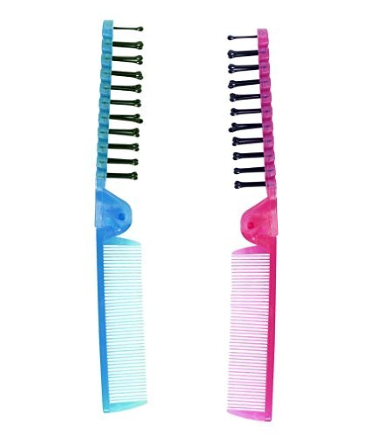 甥原点裂け目LaMi Foldable Travel Brush and Comb Set, 2 Count per Pack - 2 Packs [並行輸入品]