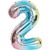 風船2数字パーティー誕生日結婚式飾り物アルミ色とりどりのバルーン40インチ超巨大(0-9)J002C