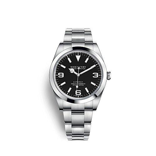 Noob factory 腕時計 ブラック N級エクスプローラー 自動巻 SS オイスター、39 mm、スチール メンズ (R王冠LOGO付き)