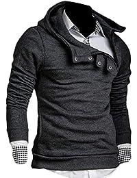 Sodossny-JP メンズファッションプルオーバー固体スウェットシャツジッパーボタンパーカージャケットコート