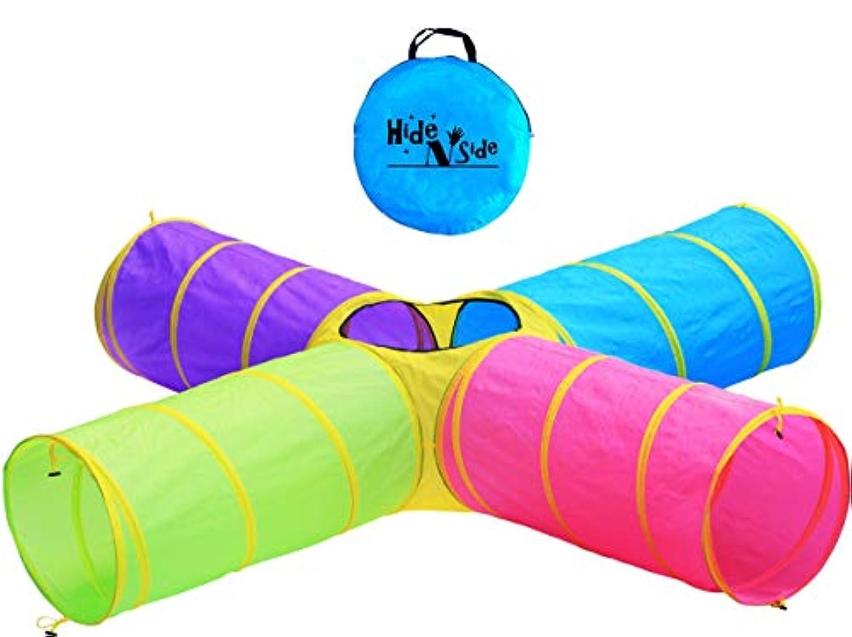 子供の4ウェイ8 ft Fun Playトンネル、インドア&アウトドア子Pop Upトンネルおもちゃ、by hide-n-side