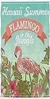 フェイスタオル - ハワイサマーフラミンゴ熱帯植物のジャングル - 吸水 速乾 耐久 綿 デイリー 柔らか肌触り ふんわり 家庭用 業務用 無地(38x69cm)