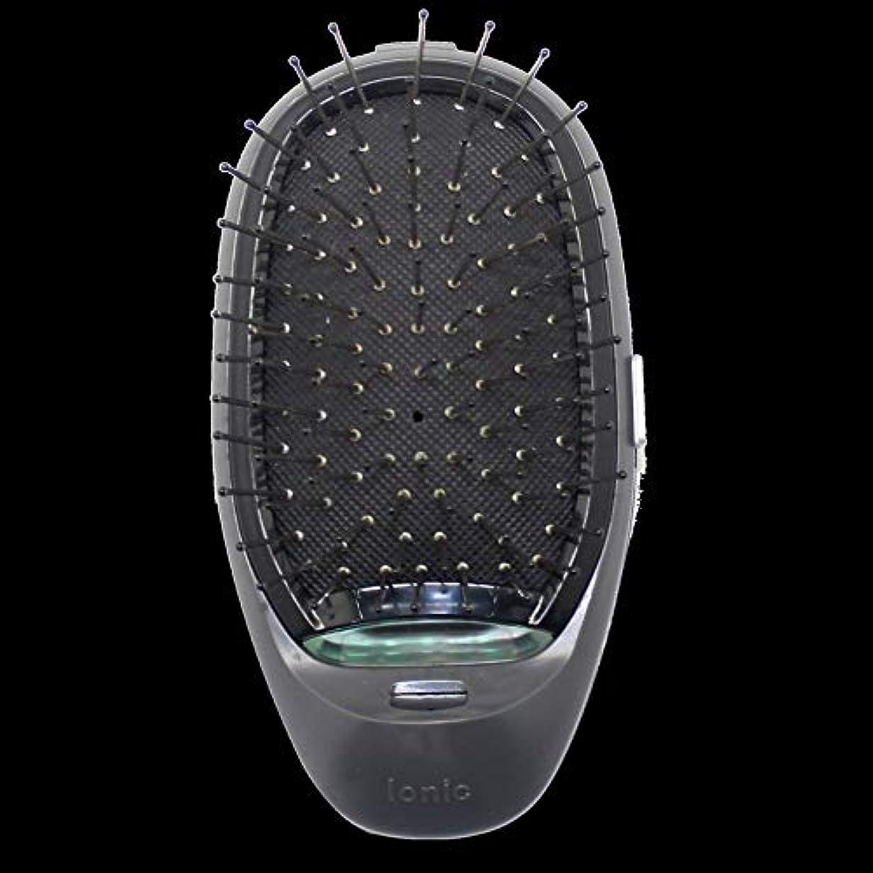 拳ヘアケニア電動マッサージヘアブラシミニマイナスイオンヘアコム3Dインフレータブルコーム帯電防止ガールズヘアブラシ電池式 - ブラック