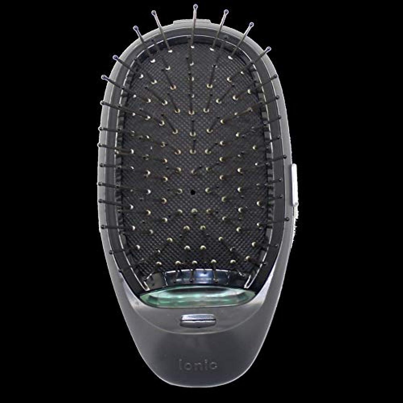 不安物理少年電動マッサージヘアブラシミニマイナスイオンヘアコム3Dインフレータブルコーム帯電防止ガールズヘアブラシ電池式 - ブラック