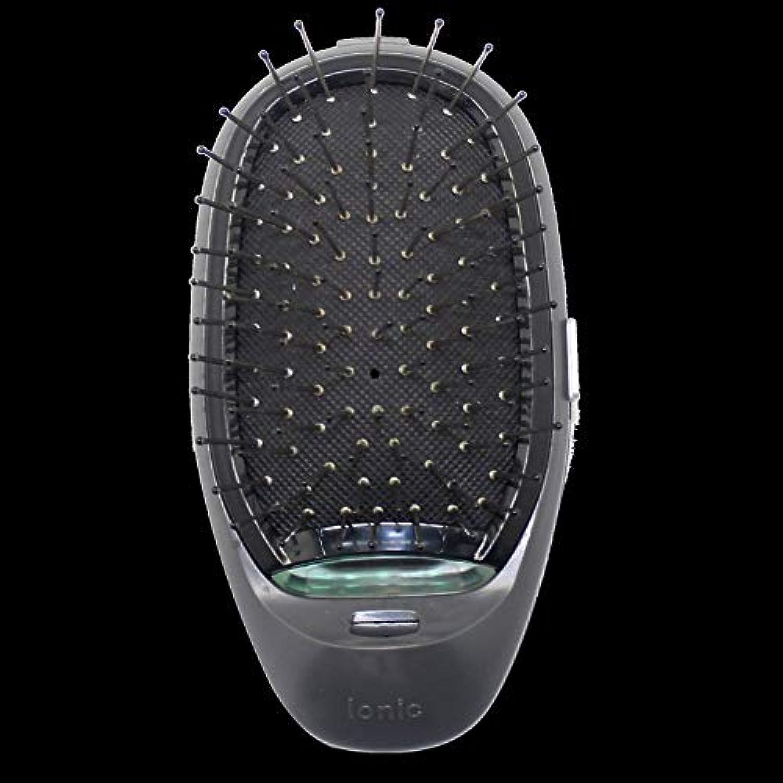 親教師の日悪魔電動マッサージヘアブラシミニマイナスイオンヘアコム3Dインフレータブルコーム帯電防止ガールズヘアブラシ電池式 - ブラック