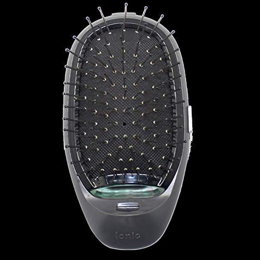 名誉単語ぶどう電動マッサージヘアブラシミニマイナスイオンヘアコム3Dインフレータブルコーム帯電防止ガールズヘアブラシ電池式 - ブラック