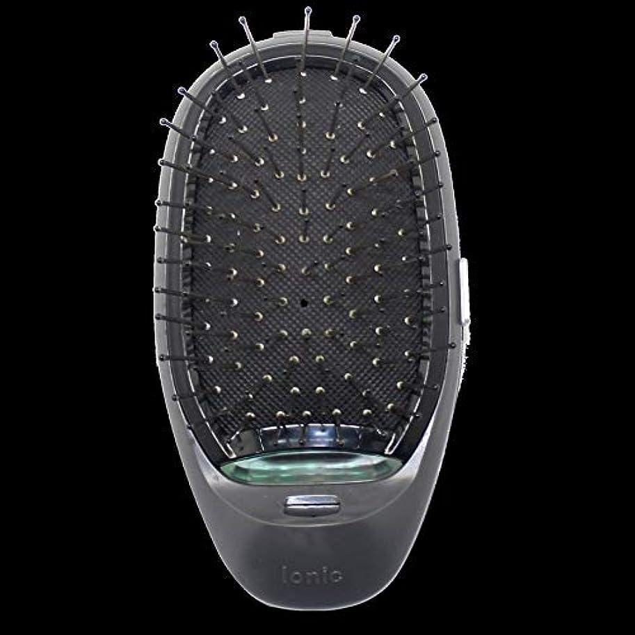 子豚オーロック衝撃電動マッサージヘアブラシミニマイナスイオンヘアコム3Dインフレータブルコーム帯電防止ガールズヘアブラシ電池式 - ブラック