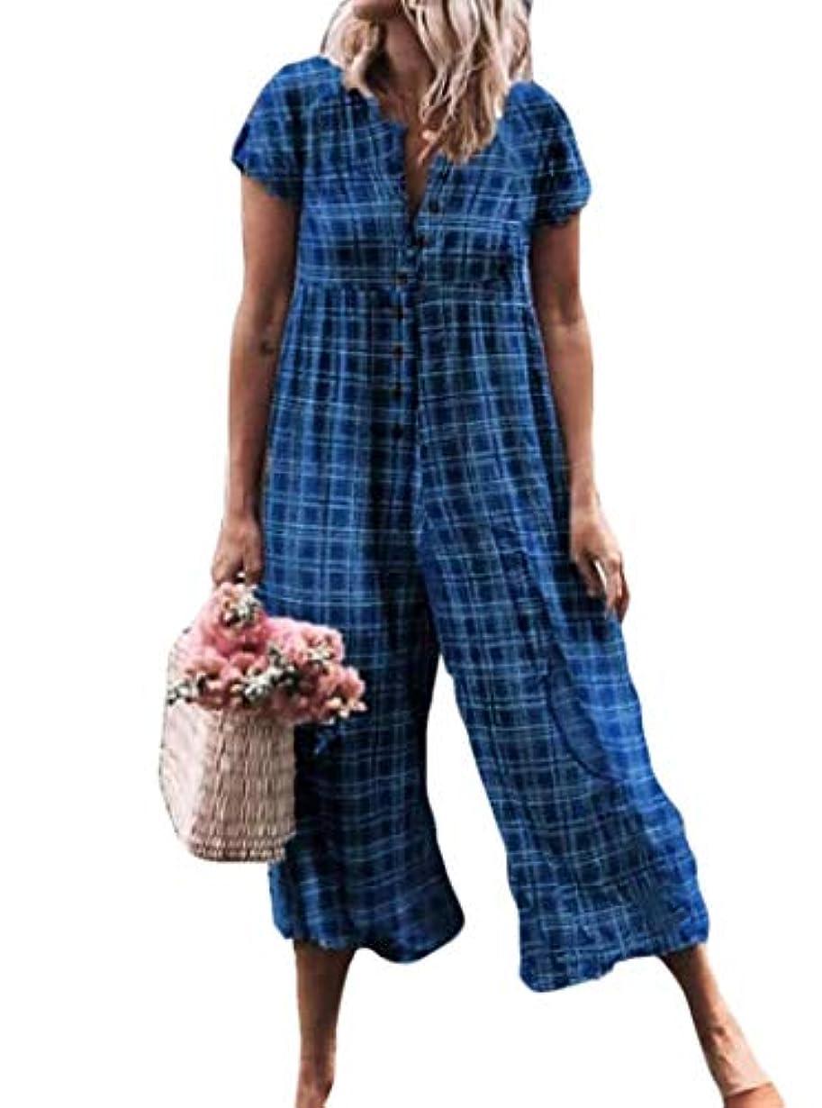 カニユーザーオリエンテーションMemories Love 女性のコットンリネンは、半袖チュニックのシングルブレストジャンプスーツをチェック