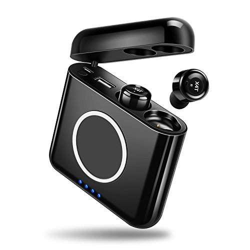 【進化版 IPX7完全防水】 Bluetooth イヤホン 完全ワイヤレス イヤホン スポーツ 高音質 片耳 両耳対応 マイク内蔵 通話可 モバイルバッテリー機能 充電式収納ケース付 iPhone Android 対応 (ブラック)