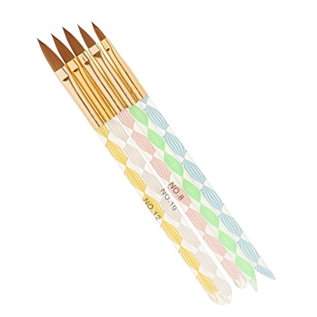 Perfk 5本 ネイルアート デザイン ブラシキット マニキュアツール 絵画 描画 磨き ブラシ