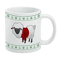 Fleece Feliz Navidad Sheepクリスマスホリデーホワイトマグ