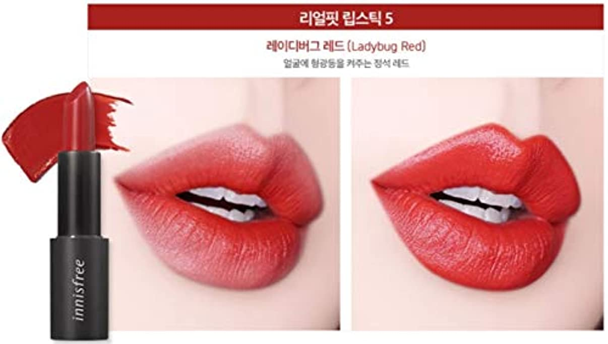 正規化独特の謝罪する[イニスフリー] innisfree [リアル フィット リップスティック 3.1g - 2019 リニューアル] Real Fit Lipstick 3.1g 2019 Renewal [海外直送品] (05. レディバグ レッド (Ladybug Red))