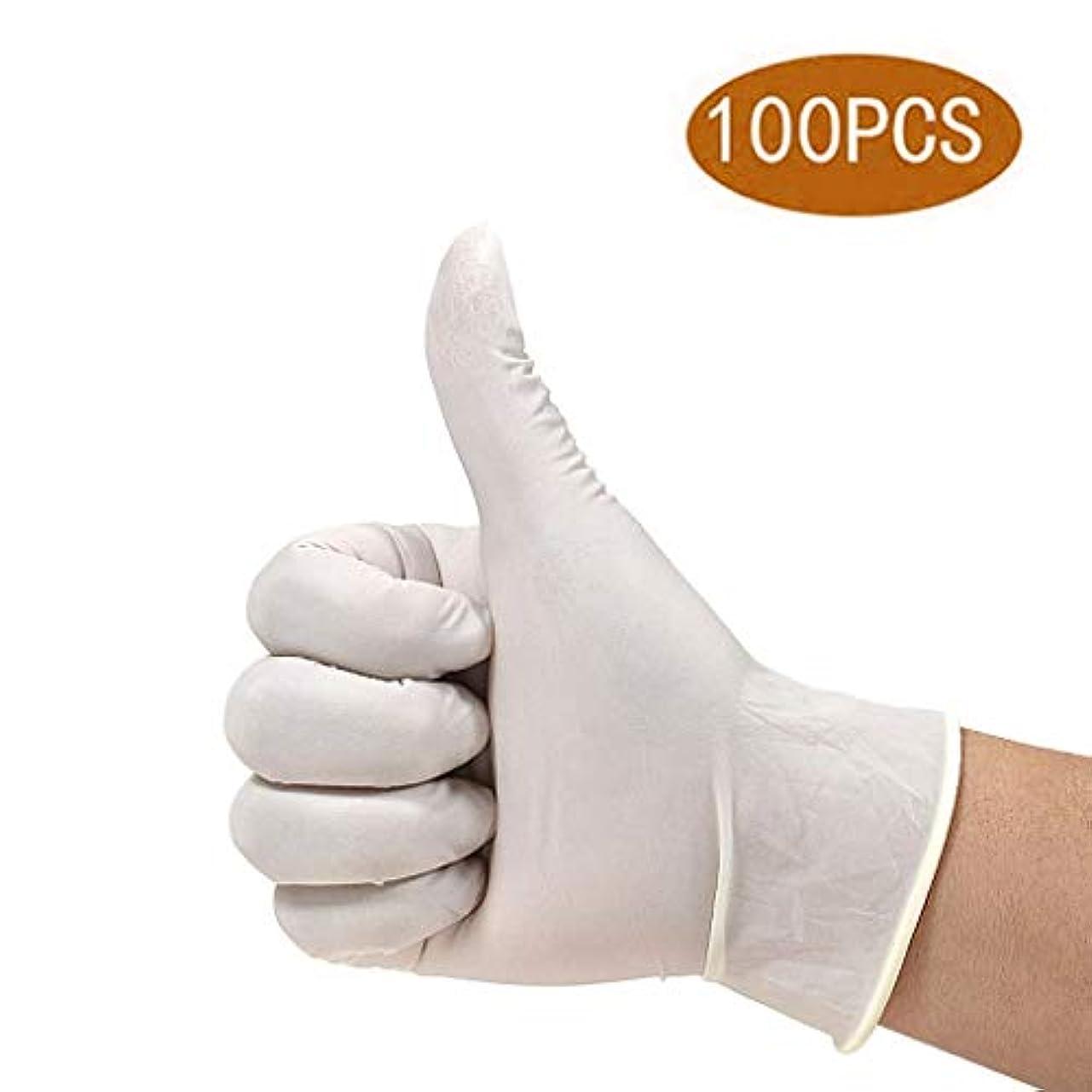 ヒゲ生産的ノミネート使い捨て手袋ラテックスプラスチック保護洗浄野菜タトゥー家庭用医療肥厚耐久性タトゥー検査実験タトゥー保護ゴム、(100個/箱) (Size : L)