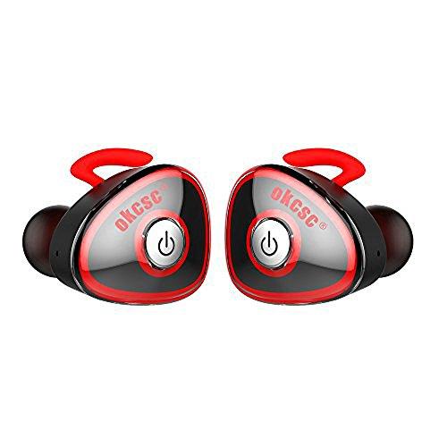 OKCSC HC-362 TWS ブルートゥース イヤホン bluetooth ワイヤレス ミニ スポーツ ヘッドセット ヘッドホン 両耳 V4.1 iPhone7に対応 マイク付き (レッド)