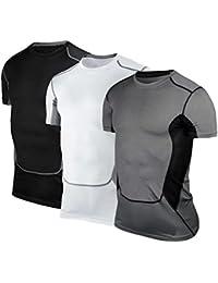 cocohot Tシャツメンズドライフィットベースレイヤ圧縮スポーツシャツ3パック