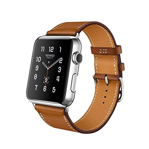 Sundaree® for Apple Watch バンド38mm&40mm、高級 レザー ビジネス用 iwatch バンド、本革ビジネススタイル、ファッションなデザインと精密な手作り、アップル ウォッチバンドfor Apple Watch Series 4/3/2/1 (シングルリングブラウン 38&40mm)