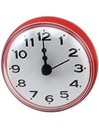 YIFAN ミニクロック 掛け時計 壁時計 家庭用 吸着タイプ  防水防霧 ラウンド 紅色