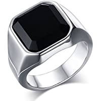 Vnox リング 指輪 メンズ レディース ステンレス製 男女兼用 天然石 ブラックオニキス 幅広 誕生石 ピンキーリング シンプル アレルギー対応 ブラック17号