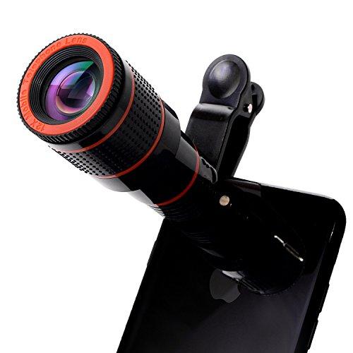 【N.M.JAPAN】 スマホ iphone カメラレンズ 望遠レンズ クリップ式 高画質 12倍 iPhone7 iPhone6 iPhone6 Plus等対応 クロス付き