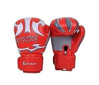武術・格闘技/空手/防具 皮革製のキックボクシング グローブ・打撃練習用のグローブ・手袋・アダルト専門のボクシンググローブ 10オンス 左右セット 通気 レッド