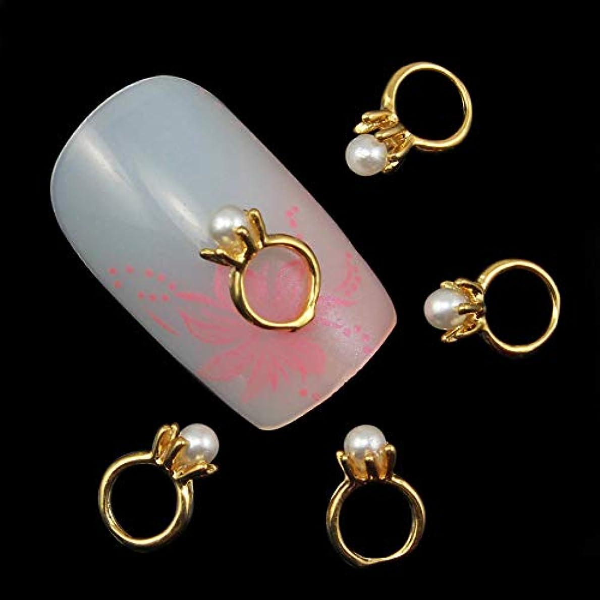 押し下げる散るあたり10個入りの3Dネイルアートのラインストーンのデコレーションパールゴールドリング形状ネイルのヒントネイルジェルツールサプライヤのセックス製品