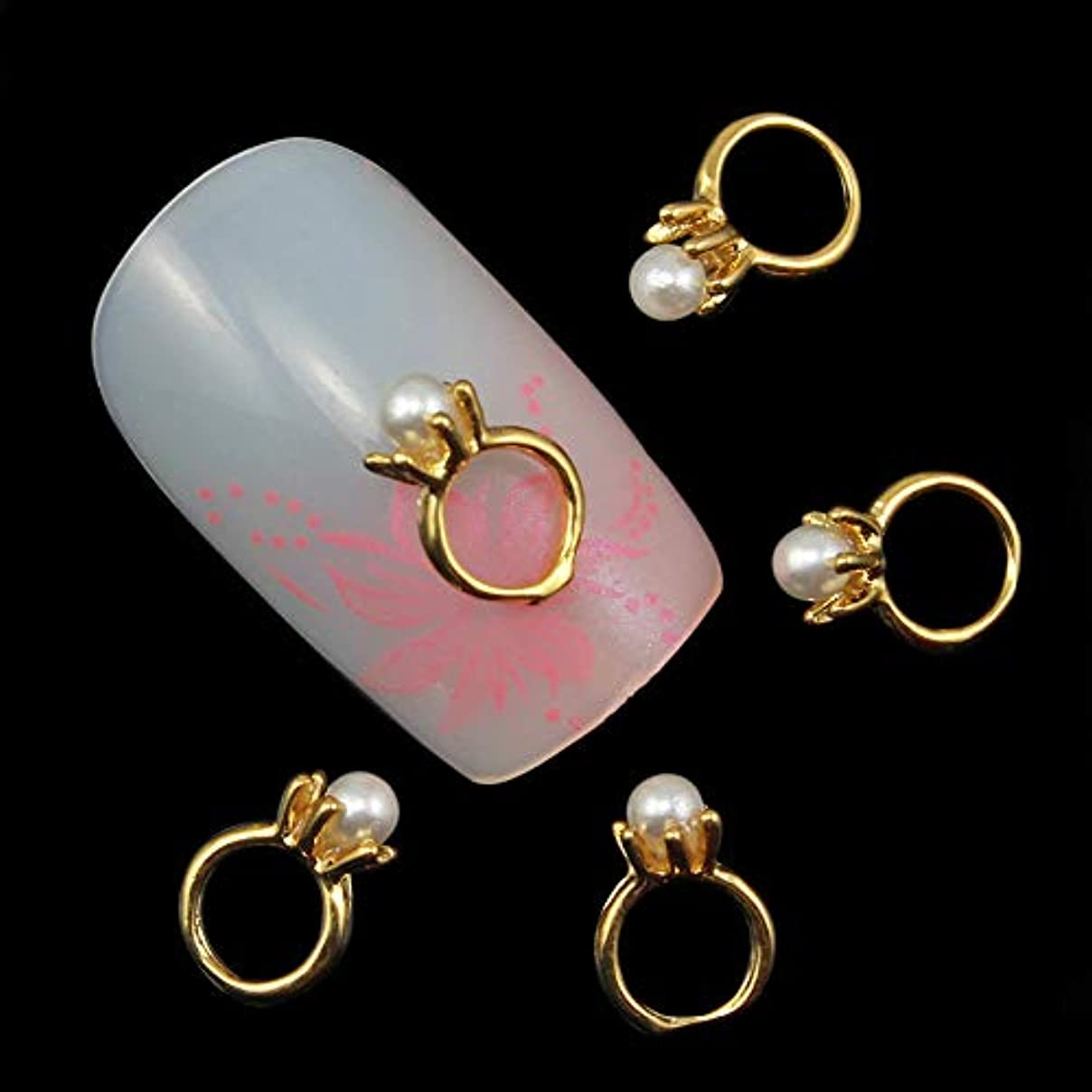 トンネルまどろみのあるボクシング10個入りの3Dネイルアートのラインストーンのデコレーションパールゴールドリング形状ネイルのヒントネイルジェルツールサプライヤのセックス製品