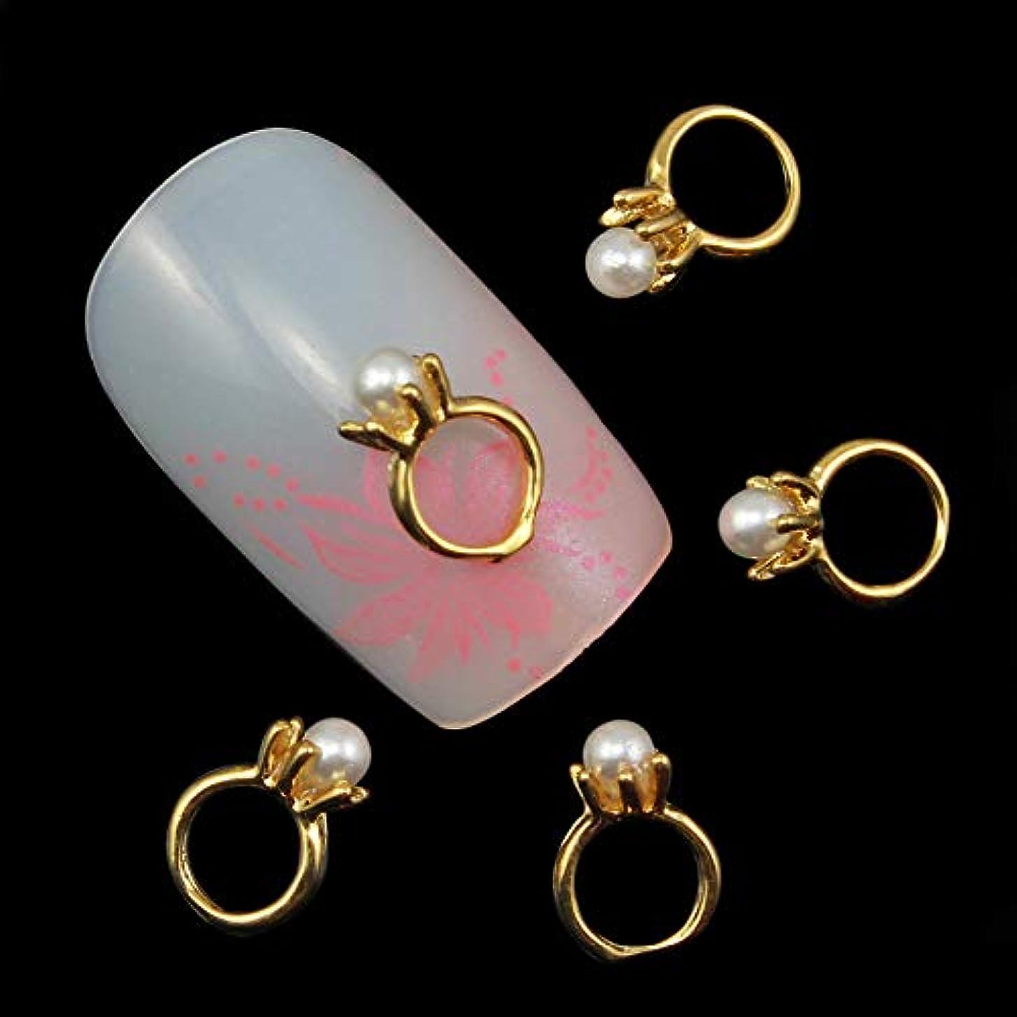 信頼性取り扱いさまよう10個入りの3Dネイルアートのラインストーンのデコレーションパールゴールドリング形状ネイルのヒントネイルジェルツールサプライヤのセックス製品