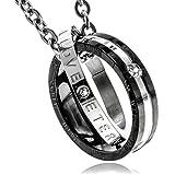[ナピスト] ネックレス メンズ サージカルステンレス ハート&アロー キュービックジルコニア ダブルリング NPN276 ブラック