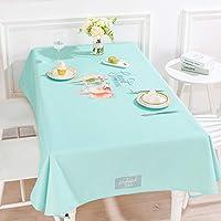 HFY テーブルクロス柔らかくて快適な長方形のコットンリネンテーブルクロスブルーグリーン (色 : 緑, サイズ さいず : 140*220cm)