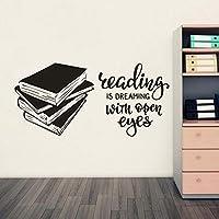 Ljjlm 学校図書館ビニールウォールステッカー読書本ビニールウォールデコレーション用書籍店研究壁飾り57×27センチ