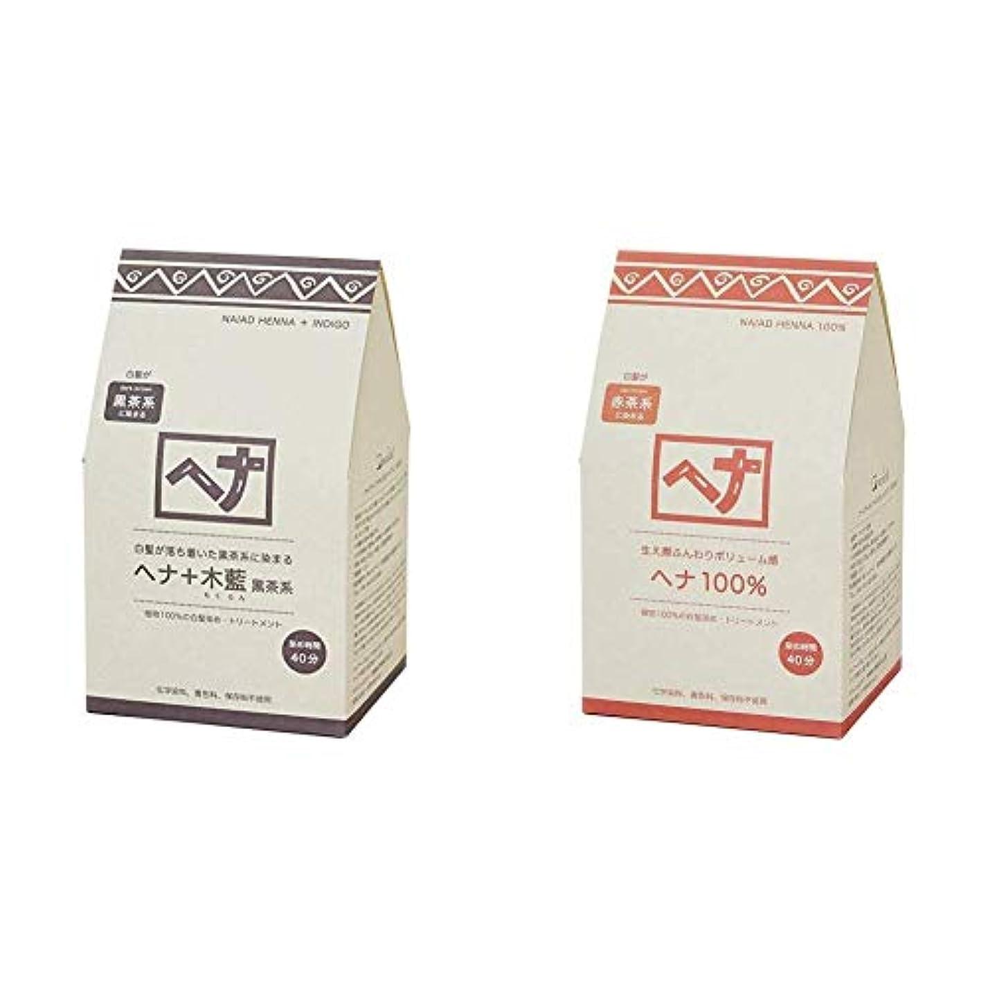 平日レタス検体Naiad(ナイアード) ヘナ+木藍 黒茶系 400g & ヘナ 100% 400g