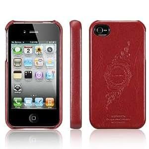SPIGEN SGP アイフォン 4 / 4S ケース レザーグリップ 【 INFINITY RED 】 液晶保護シートセット 本革 for iPhone 4 / 4S 【 SGP06921 】