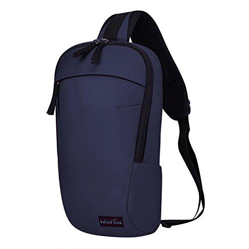 WindTook ショルダーバッグ 斜めがけバッグ 胸バッグ 肩掛け アウトド メンズ レディース 軽量 日常 通勤通学 ブルー