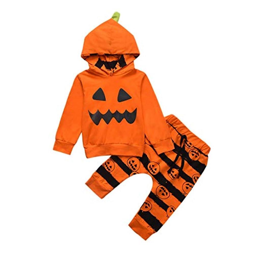 ブランド瞑想わかりやすいMISFIY ハロウィン 赤ちゃん ベビー服 上下セット フード付き パジャマ 男の子 女の子 長袖 綿 肌着 可愛い カジュアル 柔らかい 誕生記念 出産祝い (80)