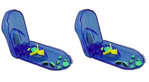 簡単操作で錠剤・薬・タブレットを2分割する錠剤カッター ピルカッター ピルケース 収納スペース 青色2個セット