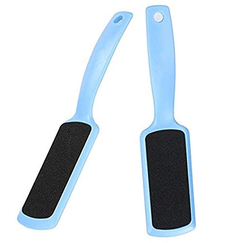 中級運営ZHER-LU 両面足ヤスリ ツインヘッド角質取り器 角質やすり 足ファイル 両面 フットケア用品 足磨きツール 足裏 かかと 角質ケア 角質除去 多機能 プラスチック 両面サンドペーパー 3色 2個入れ (ブルー)