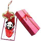 中国結び飾り 縁結び 風水 車 飾り パンダ Tribetter (竹葉親子のパンダ)