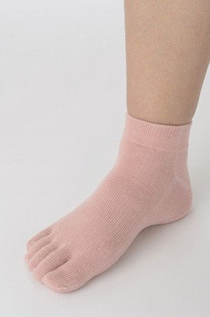 請願者驚いたことに吸収する竹布 TAKEFU 5本指ショートソックス (25-27cm, ピンク)