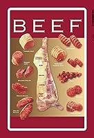 ティンサイン牛肉肉屋デザインレッドメタルサイン20 x 30 cm