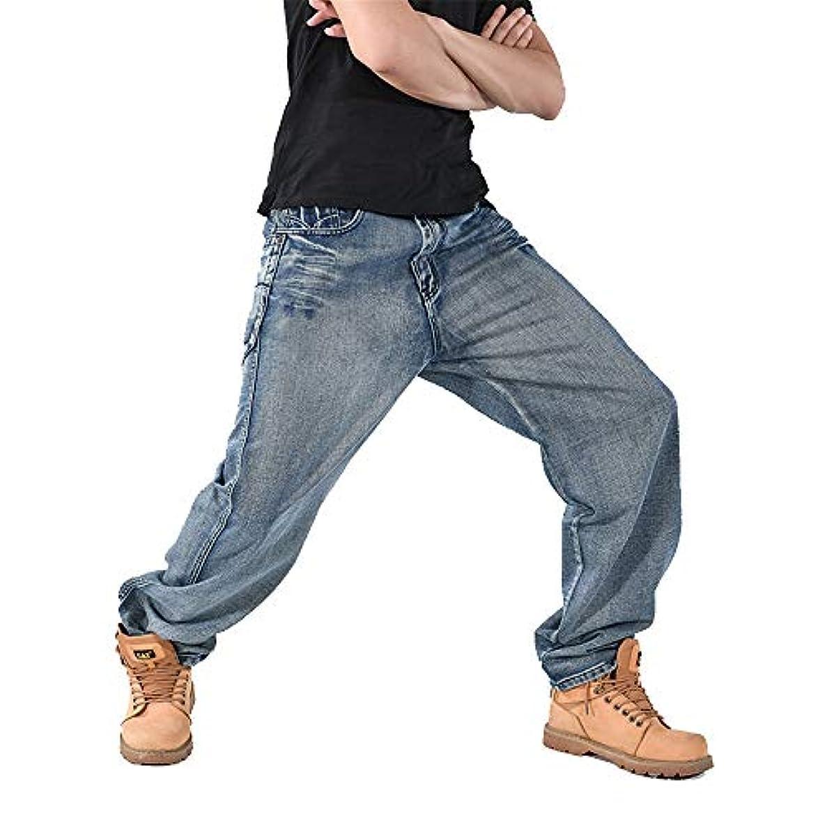 所得保証コンパクトメンズデニムジーンズ、春秋プラス脂肪ワイド脚スケートボードパンツファッションカジュアルジーンズ新しいプラスサイズのパンツをヒップホップ,A,30