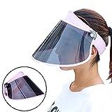 GOKEI_CO サンバイザー レディース レインハット レインバイザー 自転車 キャップ UVカット UPF50+ 紫外線対策 日焼け対策 つば広 ワイド 帽子 (ピンク)