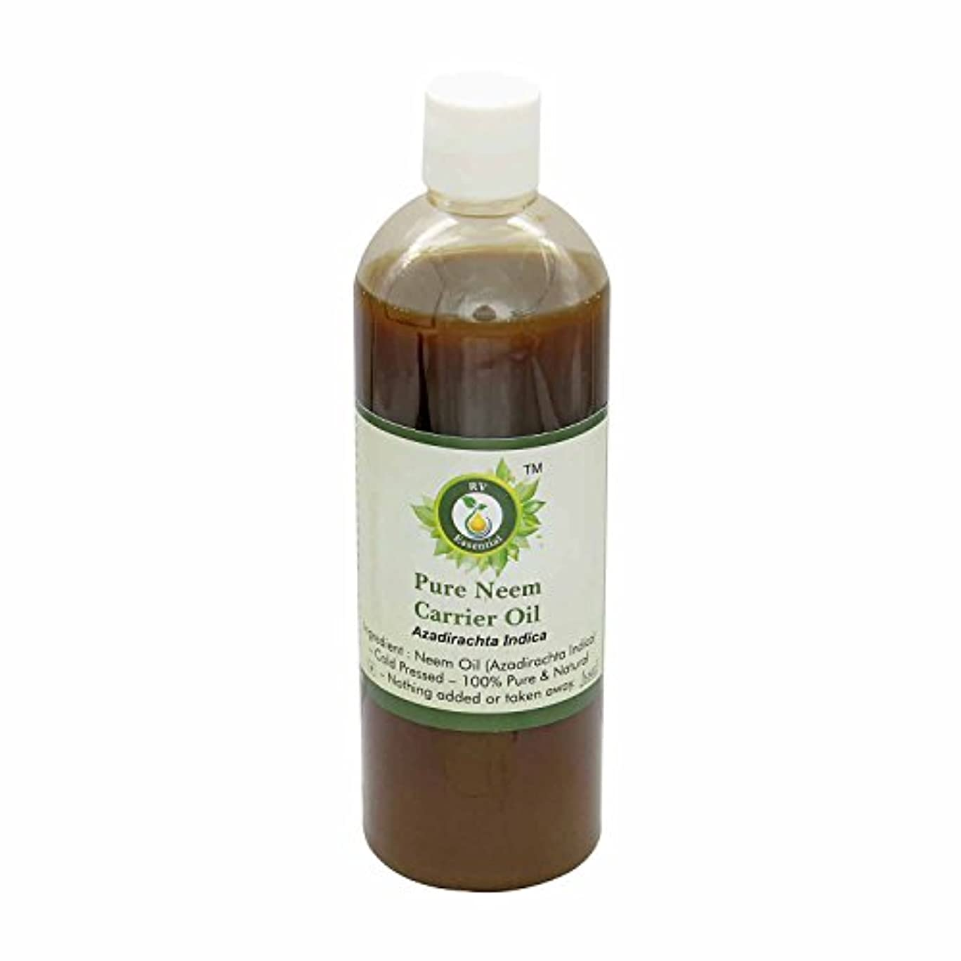 R V Essential 純Neemキャリアオイル100ml (3.38oz)- Azadirachta Indica (100%ピュア&ナチュラルコールドPressed) Pure Neem Carrier Oil